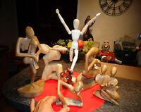 7 Statues Indonésie sans Ventre Bois Mannequin à Dessin Mère à l'Enfant Afrique