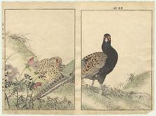 original japanese woodblock print Imao keinen diptych pheasants