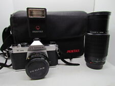 PENTAX K1000 35mm Camera With SMC M 1:4 200mm & A 1:2 50mm Lenses Flash & Bag