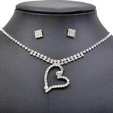 Glänzender Diamant Weiß Braut Abend Schmuck Set Tropfen Ohrringe Halskette S425