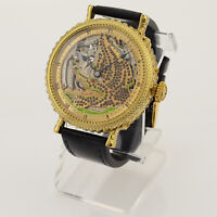GORGEOUS MEN'S WRIST WATCH SKELETON ENGRAVED 16 SIZE 17 JEWELS USA MOVEMENT