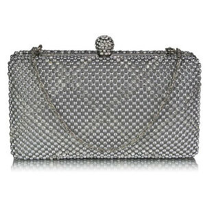 New Pearl Clutch Bag Beaded Prom Party Bridal Handbag Box Wedding Evening Purse