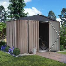 AECOJOY Outdoor Metal Storage Shed for Garden Tools Double Lockable Door 2 Size
