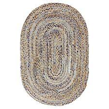 ⭐ Oval Denim and Jute Blue Braided Stripe Area Rug Lounge 60x90cm 90x135cm Fair