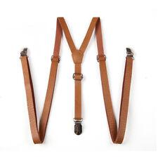 Classical Unisex Suspenders Y Cross Dress Pants Braces Three Buckles Belt Brown