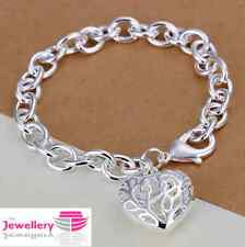 925 Sterling Silver Patterned Heart Charm Bracelet Jewellery Womens Ladies Gifts