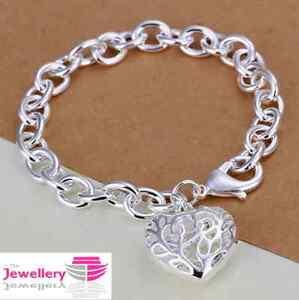 925 Sterling Silver Patterned Heart Charm Bracelet Jewellery Womens Ladies Gifts
