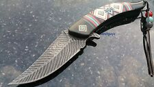 "8.25"" BLACK FEATHER SPRING ASSISTED FOLDING KNIFE Blade pocket open switch"