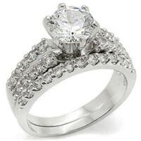 1.74ct Round Cut CZ Womens Wedding Anniversary Engagement Promise Ring Set