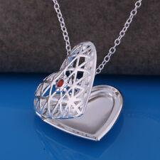 Medaillon Silber Foto Medallion Herz Anhänger Kette Amulett zum öffnen Collier