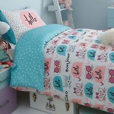 Kitty 'Multi' Reversible Rotary Single Bed Duvet Quilt Cover Set Brand New Gift