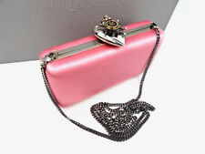 Authentic ALEXANDER McQUEEN classic box clutch in pink satin with heart clasp