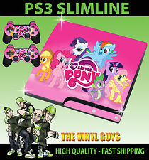 Playstation 3 Slim Ps3 Slim My Little Pony Rainbow Sticker Skin & 2 Pad Skins