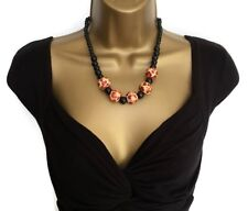 Gorgeous Tribal Chic Necklace Wooden Bead Leopard Animal Print Bead in Black