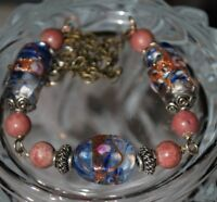 Lampwork Wedding Glass Necklace Gemstone Beaded Chain Gift Idea Blue Red Silver