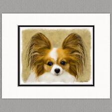 Papillon Dog Original Art Print 8x10 Matted to 11x14