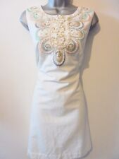 Stunning Monsoon Pearl beaded Embellished Shift Evening Occasion Dress Size 14