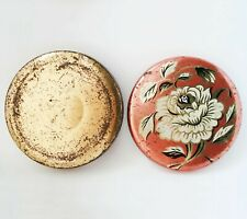 Vintage Round Decorative Candy Tin Box Rose Flower Leaves Red Orange Golden
