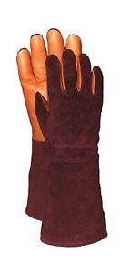 Leather Pro's 100-Percent Cow Grain Gauntlet Gardening Gloves, Rustic/Brown, ...