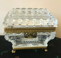 Antique Baccarat Style Cut Crystal Hinged Box with Gilt Bronze Mountings