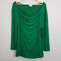 [ QUEENSPARK ] Womens Long Sleeves Green Top  |  Size XXL or AU 18