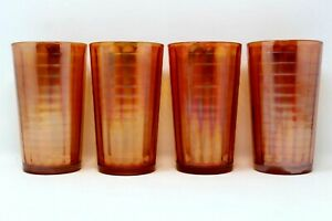 SET OF 4 JEANETTE CARNIVAL GLASS BANDED RIBS PATTERN MARIGOLD PEACH TUMBLERS