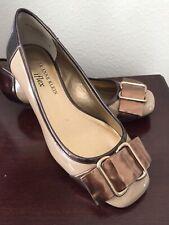 Women's ANNE KLEIN iFlex Beige Brown Patent Leather Buckle Ballet Flats Size 5M
