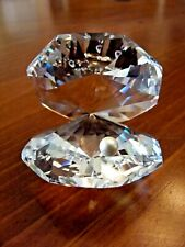 Gorgeous Swarovski Retired Faceted Crystal Clam Oyster Shell W/ A Faux Pearl Exc