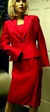 TAHARI SUIT 3 Piece Red Skirt Top Jacket Size 2