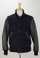 $695 WOOLRICH WOOLEN MILLS 'Sportsman' Navy Wool & Leather Baseball Jacket M