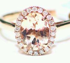 Cut White Diamond Vintage Engagement Ring 1.79Ct 14K Rose Gold Natural Morganite