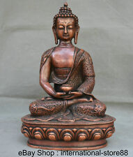 "13.2"" Mark Tibet Red Copper Monastery Seat Shakyamuni Amitabha Buddha Sculpture"
