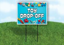 Toy Drop Off Blue Background Yard Sign Road With Stand Lawn Sign