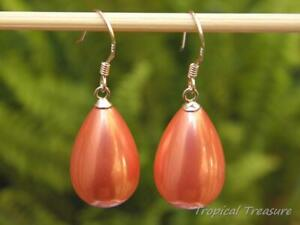 'Coral Pink' Shell Pearl Earrings - 925 SOLID Sterling Silver Hooks