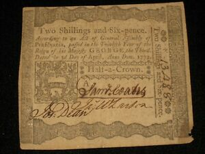 US PA State Currency - 1/2 crown - April 3, 1772 ** PA-157 ** (CC-251)