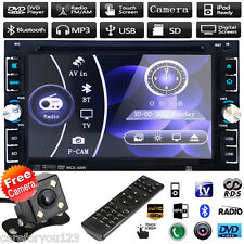 "Double 2Din 6.2"" Stereo Car DVD CD Player Bluetooth Radio iPod SD/USB TV+Camera"