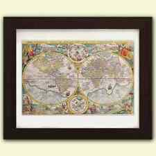 Vintage Antica riproduzione Mappamondo No3 stampa d'arte A3 su raso 285gsm Carta