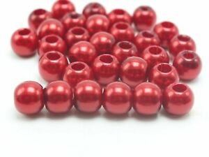 """100 Red Acrylic Pearl Round Beads 12mm (1/2"""") Pony Beads With 5mm Hole"""