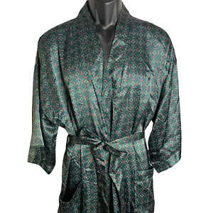 State O Maine Full Length Robe One Size Green Silky Satin Circles Pockets Tie
