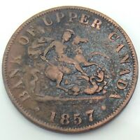 1857 Bank Upper Canada Copper One Half Penny Circulated Canadian Token G292