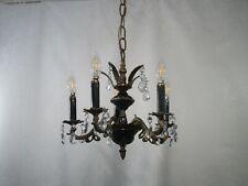 Antique Vintage Bronze French Empire Petite Chandelier 5 Light Crystals
