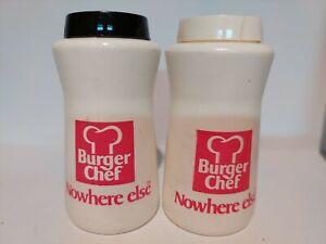 Plastic Burger Chef Salt And Pepper Shaker Set CRACKED LID Advertising