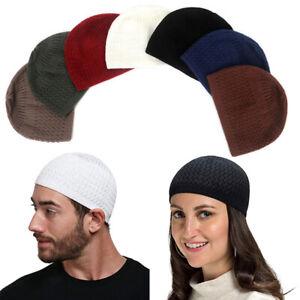 Wool Knitted Hat Men Women Winter Thick Warm Bonnet Turban Cap Chapeau Headgear
