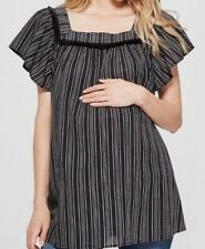 Vertical Striped Short Sleeve Square Neck Woven Top Blouse Isabel Maternity