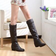 Women Knee High PU Leather Flat Boots Ladies Mid-calf Biker Slouch Boots Shoe F