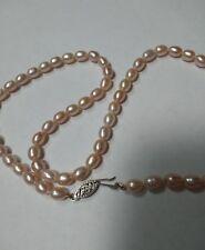 "Genuine14k White Gold Filigree Clasp & Pink Biwa Pearl 16"" Choker Necklace *Gift"