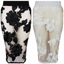New Floral Applique Mesh High Waisted Back Split Bodycon Midi Pencil Party Skirt