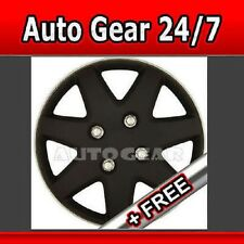 "15"" Matt Black Silver Wheel Trims Hub Cap Covers +Free"