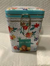 New listing The Pioneer Woman Lock Top Beautiful Floral Tin Canister Hard To Find
