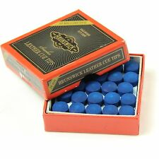 25 X 10mm Leather Blue Diamond Snooker Pool Cue Tips - FREE C&C Cue Tip Gel Glue